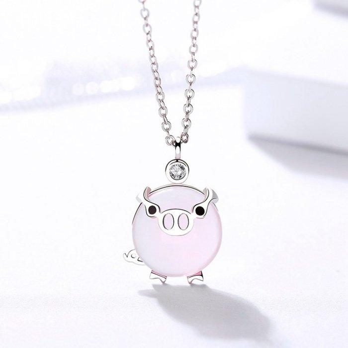 Natela可愛小豬生肖特別設計925銀飾品鍍白金琉璃項鍊吊墜禮品配件禮盒