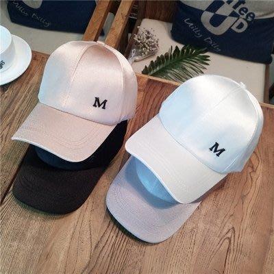 帽子女 春夏天時尚絲光M標棒球帽青年百搭情侶嘻哈帽潮韓版鴨舌帽