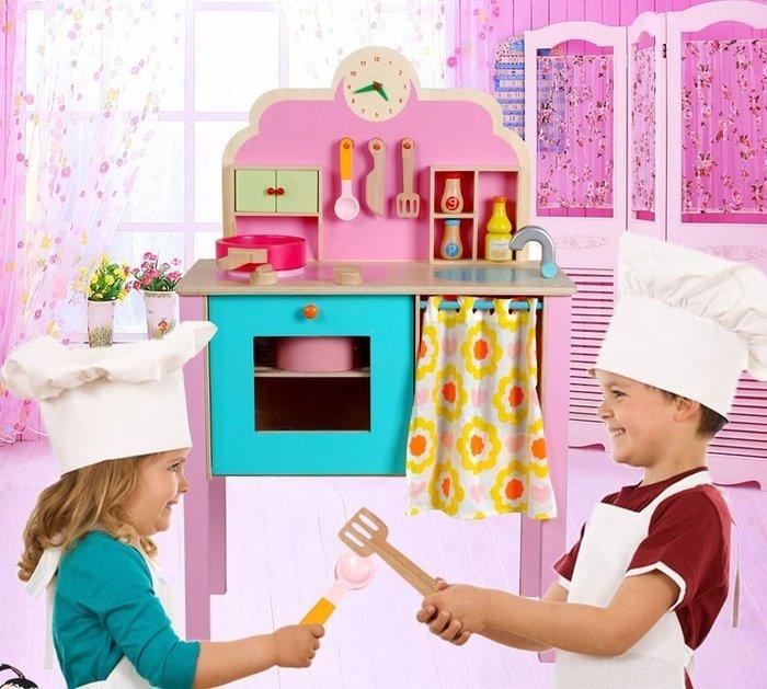 最新款~實木製~草莓仿真超大立式廚房組~粉彩大廚房~仿真家家酒玩具◎童心玩具1館◎