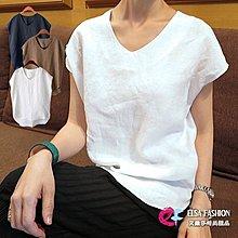 無袖春棉麻衫韓系棉T 寬鬆燕尾式弧形下擺小包袖亞麻V領上衣 艾爾莎【TGK3594】
