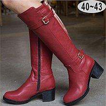 【雷妮雅絲】[A5769]軍靴風 皮帶扣 粗跟 長靴 長筒靴 馬 女 靴子 女鞋 大碼 女鞋 大尺碼女鞋40-43碼
