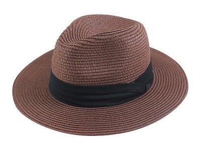 金城武同款通用型限定帽子/ 流行(黑色3折帶4cm)寬邊(7cm)加大帽沿軟藤紳士帽-深咖啡色