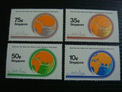 【大三元】新加坡郵票- SP123海底電纜郵票~1986年發行~新票~~原膠4全1套