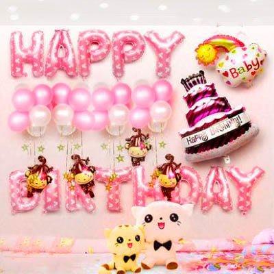 【生日氣球套餐-多款可選-1款/組】氣球裝飾周歲生日派對裝飾品(送打氣筒+彩帶+膠布)-7201015
