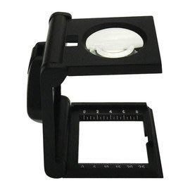 三折疊LED輔助附刻度尺5X 5倍放大鏡看布鏡,照布鏡 刻度尺 25mm 1inch 1吋(8分) 鴿眼鏡