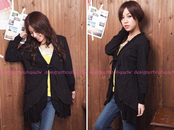 MD:RUCCI品牌黑色拼接棉質布料和針織布料領口麻花編織長袖外套~特價