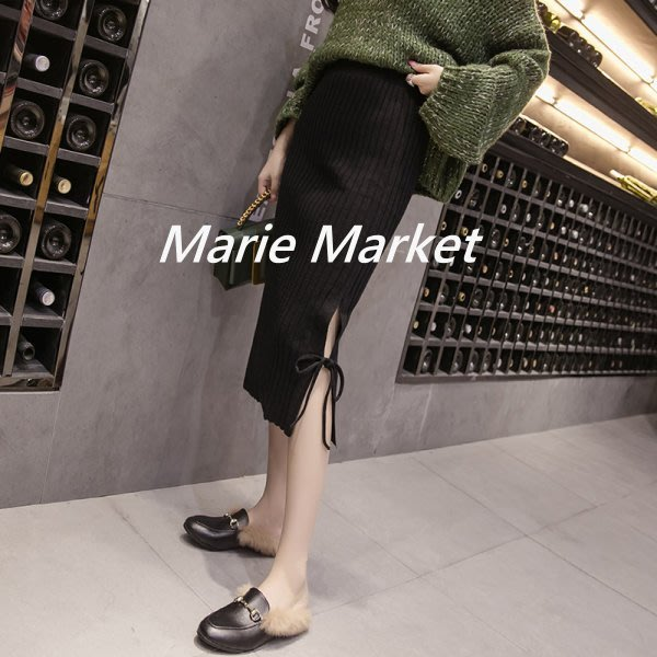 ☆ Marie Market ☆ 韓國訂單 側開岔包臀裙 性感開岔針織半身裙 中長款包臀 一步裙