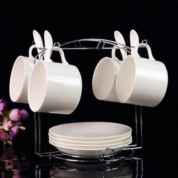 歐式陶瓷杯咖啡杯套裝 高檔金邊創意4件套 骨瓷咖啡杯碟勺帶架子 免運費