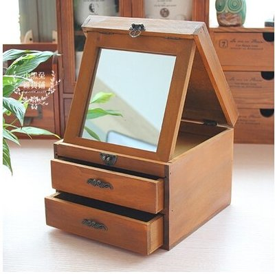 帶鏡子木質便簽盒首飾盒歐式帶抽屜護膚品盒桌面收納化妝盒