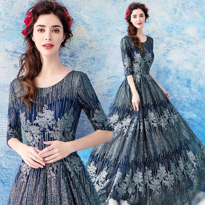 婚紗禮服 正式天使嫁衣 璀璨重工星空藍色長袖婚紗晚宴年會主持人演出禮服5600t