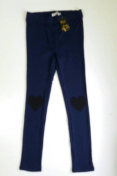 全新GAZEME深藍色黑色愛心圖案長褲彈性伸縮內搭褲窄管褲九分褲~ Kinloch Anderson jacadi 參考