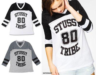 【 超搶手 】全新正品 最新款 女裝 STUSSY TRIBE HOCKEY TEE 曲棍球 球衣 白灰 XS S