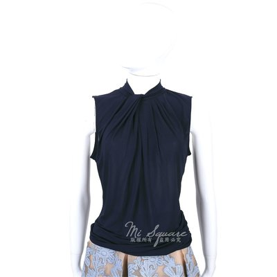 米蘭廣場 MARELLA 深藍色抓褶領結設計無袖上衣 1520515-34