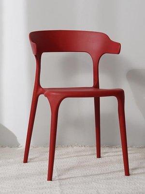 現代簡約塑料凳子餐廳靠背餐椅子北歐時尚休閒成人網紅家用牛角椅