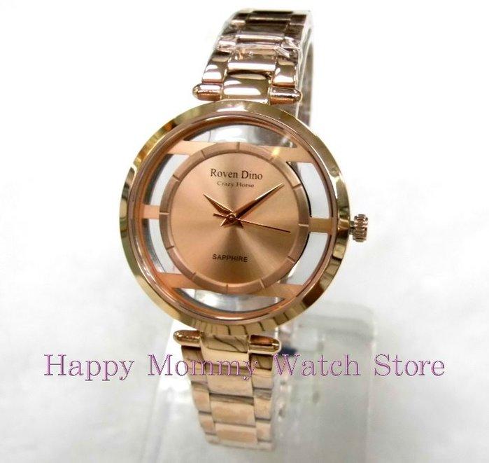 【幸福媽咪】Roven Dino 羅梵迪諾 公司貨 璀璨奢華時尚女錶-玫瑰金 33mm RD6081G