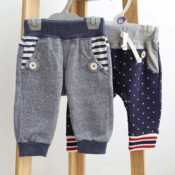 ☆草莓花園☆DD39 外貿出口 藍點星星 純棉童裝 卡通印花童装七分哈倫褲 短褲