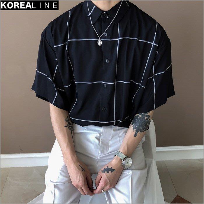 搖滾星球韓國代購  絲質格紋短袖襯衫 / 3色 AC7955