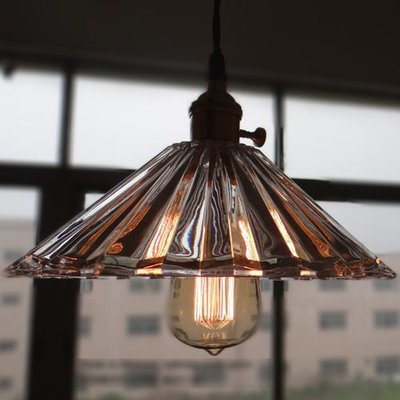 5Cgo【燈藝師】含稅會員有優惠 23376628427 復古懷舊水晶三角吊燈 全銅燈頭燈具 LOFT工業咖啡館