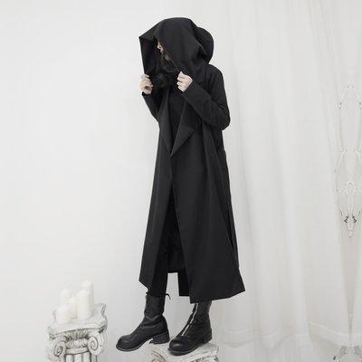 ||一品著衣|| 暗黑系小眾山本風長款過膝巫婆帽斗篷風衣外套 YM