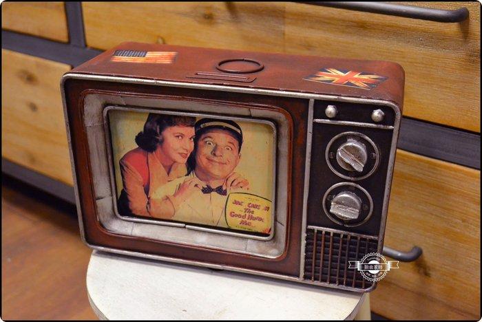 美式工業風 鐵皮復古老式電視機模型存錢筒 復古仿舊復刻TV鐵藝擺件擺飾收藏展示玩具送禮拍照道具懷舊工藝品【歐舍家飾】