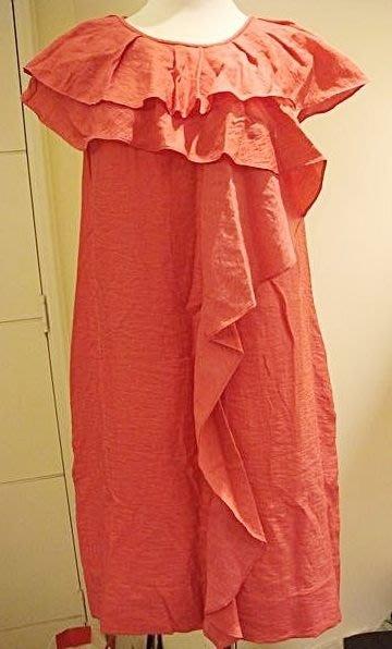 全面出清大降價!全新美國名牌 BCBG MAXAZRIA 桃紅色大荷葉領與袖洋裝/上衣,低價起標無底價!本商品免運費!