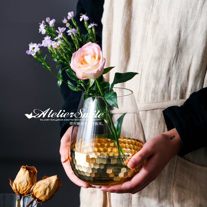 [ Atelier Smile ] 鄉村雜貨 北歐風 電鍍金箔玻璃花瓶 家居裝飾 擺設  # 大肚款 (現+預)