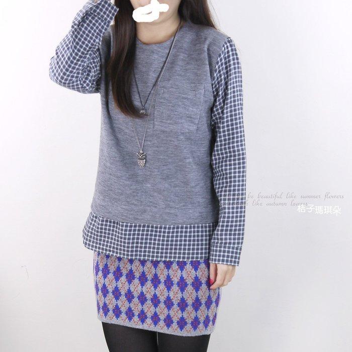 正韓 韓國連線 格子襯衫拼接棉T 假兩件襯衫 ~桔子瑪琪朵