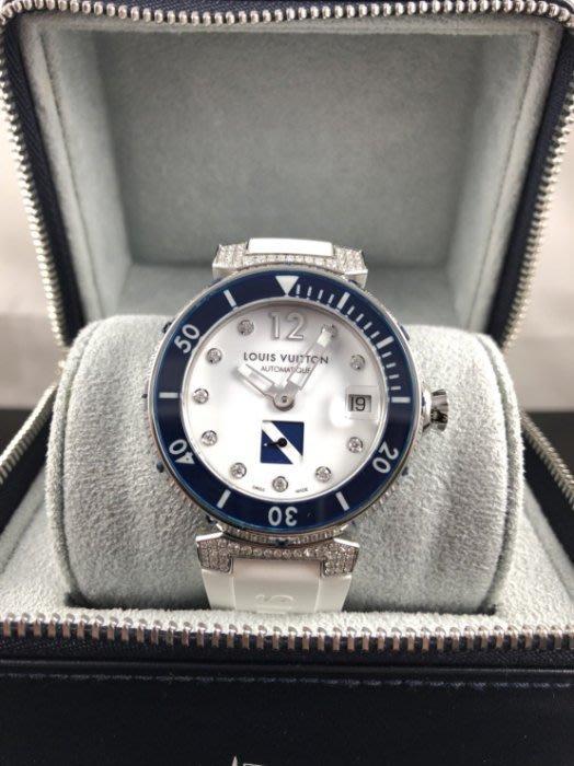 順利當舖 Louis Vuitton LV Q113C CUP系列 經典花紋鑲鑽腕錶.白/藍邊