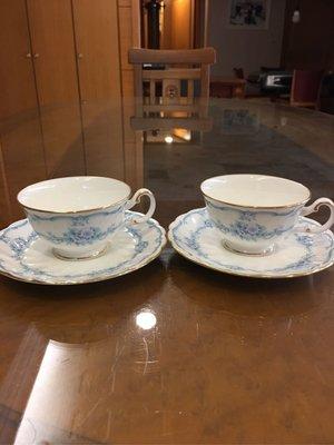 Noritake 日本皇家瓷器 花之物語咖啡杯盤對杯  花茶對杯(2組入)金邊高雅