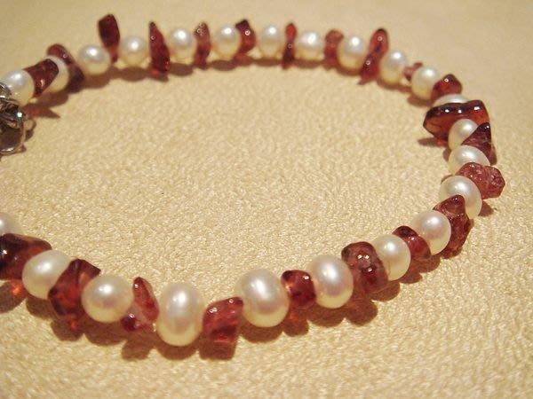 全新從未戴過,天然珍珠石榴石造型手鍊,低價起標無底價!本商品免運費!