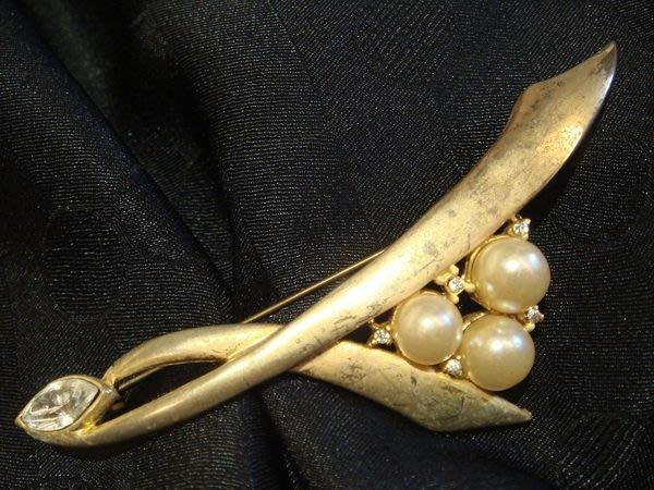美國帶回,二手金色鑲珍珠狀珠珠復古別針胸針,無底價!免運費!