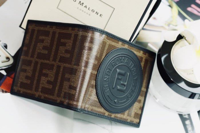 Fendi 7M0169 FF logo wallet FF logo 短夾 咖啡 / 黑