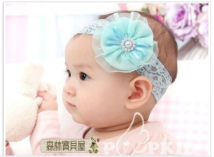 森林寶貝屋~韓款~寶寶時尚珍珠花朵髮飾~幼兒蝴蝶結髮帶~超萌嬰兒髮飾~兒童頭帶~娃娃髮飾~髮箍~拍照必備~3色發售