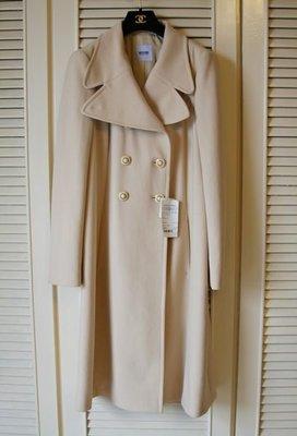 全新專櫃真品【Moschino Cheap&Chic】米白色雙排扣名媛風大衣