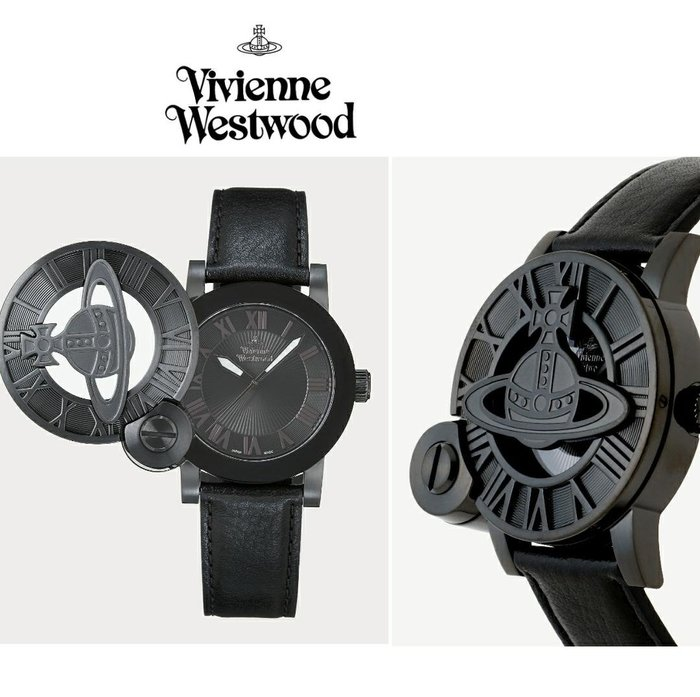 Vivienne Westwood►( 黑色  ) 立體土星翻蓋手錶 中性錶|100%全新正品|日本限定款!