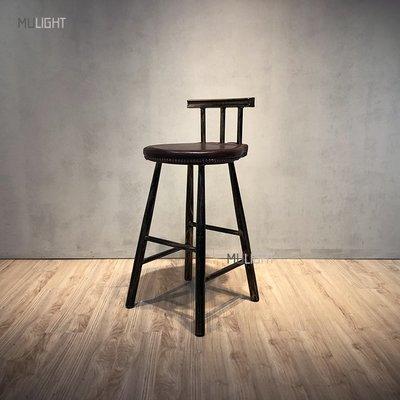 【木光設計家居】美式刷舊鐵藝皮革吧檯椅/北歐風工業風LOFT餐椅工作椅/會議椅高腳椅吧檯椅/咖啡店民宿仿舊/做舊