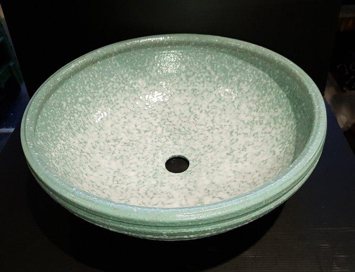 【星辰陶藝】(現貨,白綠,40公分) 洗手盆,洗臉盆,泡腳,花盆,花器