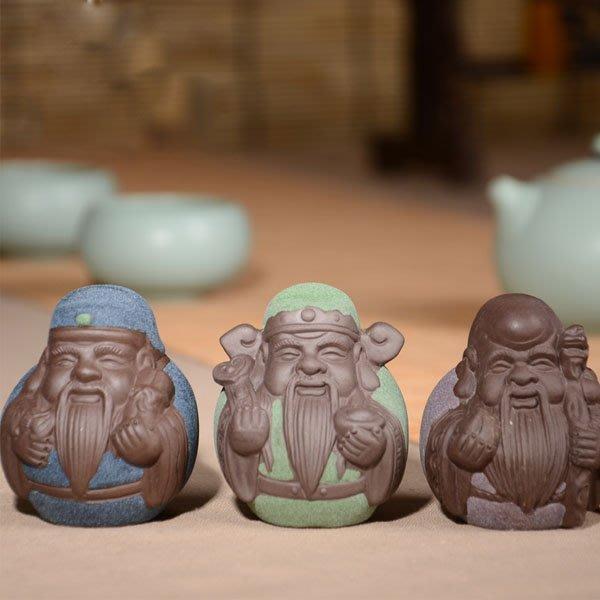 5Cgo【茗道】含稅會員有優惠 43349488175 精品紫砂茶寵彩砂陶茶玩福祿壽星茶具配件擺件小老頭瓷老人 整套三個