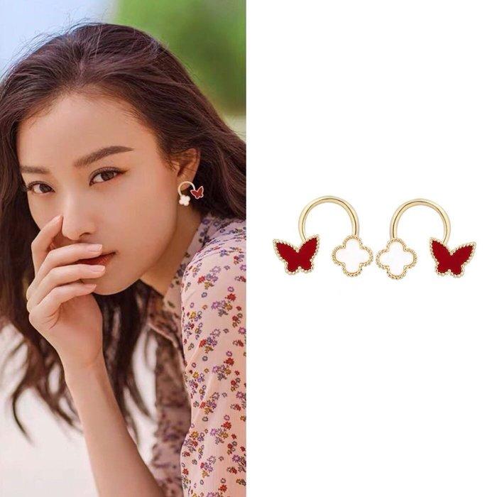 💎1633、Van Cleef設計款甜心花與蝴蝶輕奢耳環💎 名牌精品 耳環 925純銀耳針 空運來台 輕奢珠寶 正韓飾品