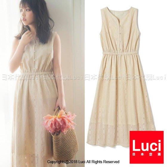 直條蕾絲無袖長洋裝  鬆緊腰   可愛氣質 韓風 日雜款   LUCI日本代購 [k8237npz]