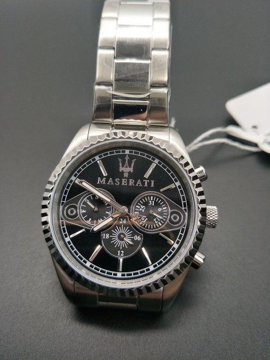 請支持正貨,瑪莎拉蒂手錶MASERATI手錶COMPETIZIONE款,編號:MA00065,黑色錶面銀色精鋼錶帶款