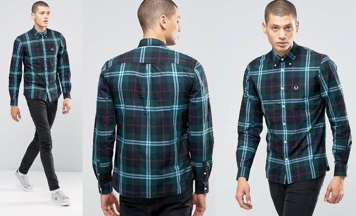 ◎美國代買◎ASOS代買FredPerry雙色線條綠色基底正常版藍綠色長袖格子襯衫~歐美街風~大尺碼
