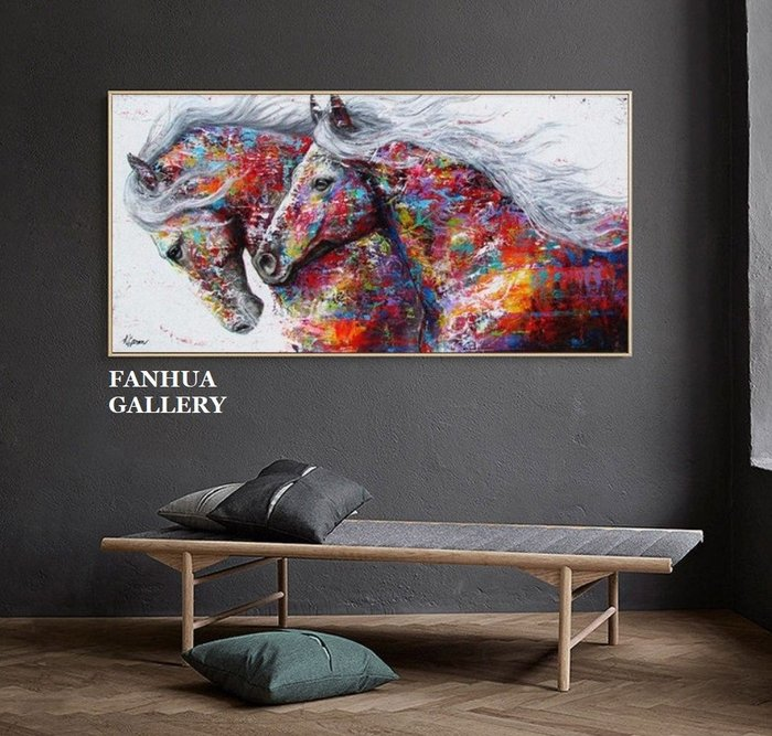C - R - A - Z - Y - T - O - W - N 現代彩色美式駿馬橫幅裝飾畫摩登客廳書房大尺寸動物掛畫