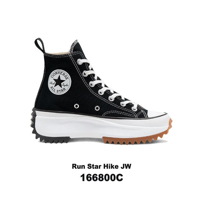 【QUEST】CONVERSE RUN STAR HIKE JW匡威 厚底 鋸齒 高筒 帆布 女 黑色 166800C