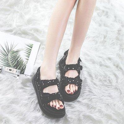 厚底涼鞋女夏季魔術貼港風百搭鬆糕羅馬鞋潮