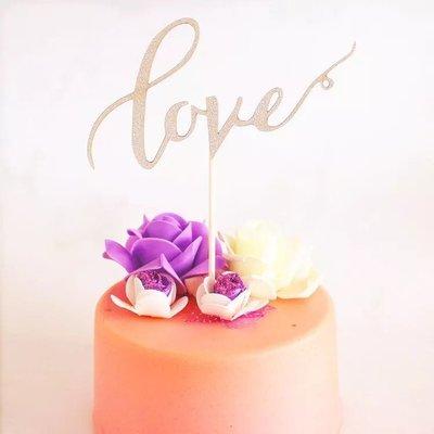 (銀色)摯愛LOVE蛋糕插旗 插卡 蛋糕裝飾插牌 party candy bar 生日蛋糕 情人節 birthday