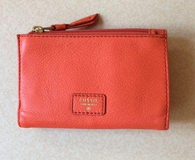 【現貨在台】FOSSIL SWL1253626 真皮中夾 橘色