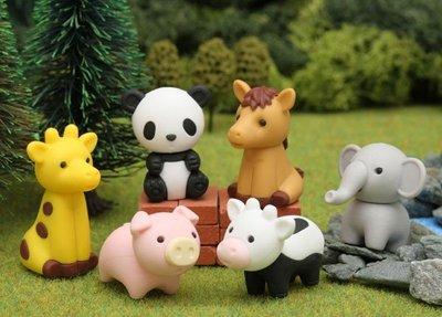 【日本製】 iwako 造型橡皮擦 可愛動物園系列 小豬、牛牛、長頸鹿、大象、 馬、貓熊  ER-DOU002