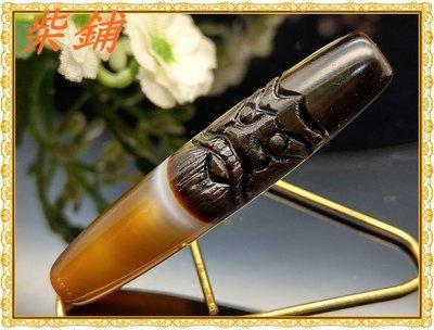 【柴鋪二館】天然一線藥師天珠 精工雕刻 僻邪納福鍾馗 天眼珠吊墜(B21)