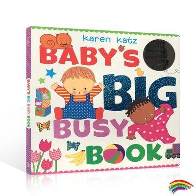 英文原版 Babys Big Busy Book 寶寶很忙 觸摸學習詞匯初級識物翻翻紙板書 Karen Katz  卡